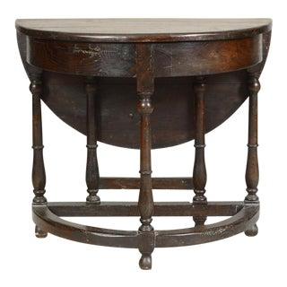 1800s Antique Mizner Style Oak Drop-Leaf Gate-Leg Demi Lune Table