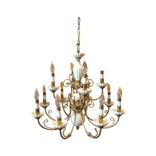 Traditional Brass & Porcelain 12-Lamp Chandelier