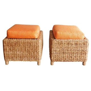 Handwoven Orange Pillow Top Ottomans - A Pair