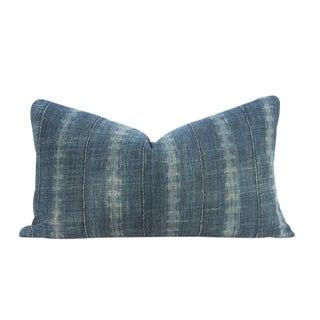 Faded Indigo Mudcloth Lumbar Pillow