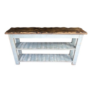 Robins Egg Blue Sky Reclaimed Wood Console Two Shelf Table With Light Distress