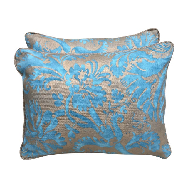 Blue and gold fortuny pillows pair chairish for Blue and gold pillows