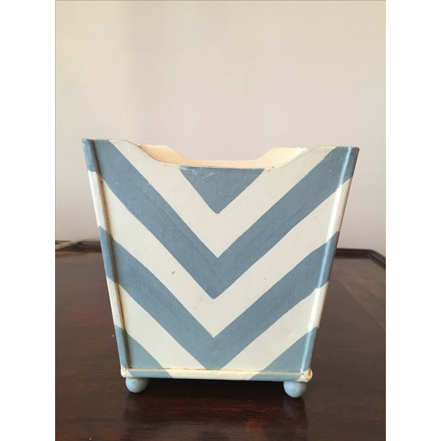 White and Blue Chevron Metal Planter - Image 3 of 6