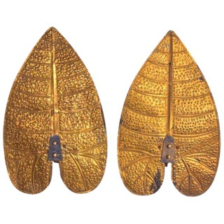 Pair of Art Deco Brass Leaf Sconces in the Style of Tommaso Barbi