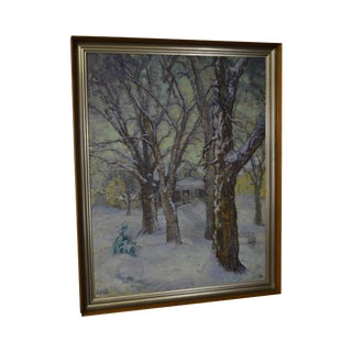 """Ada A. Wolfe (1878-1948) American Impressionist Oil Painting on Canvas """"Fresh Snow"""""""