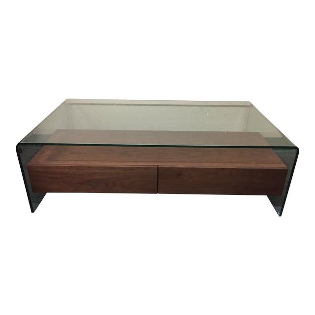 Waterfall Glass Wood Coffee Table Chairish