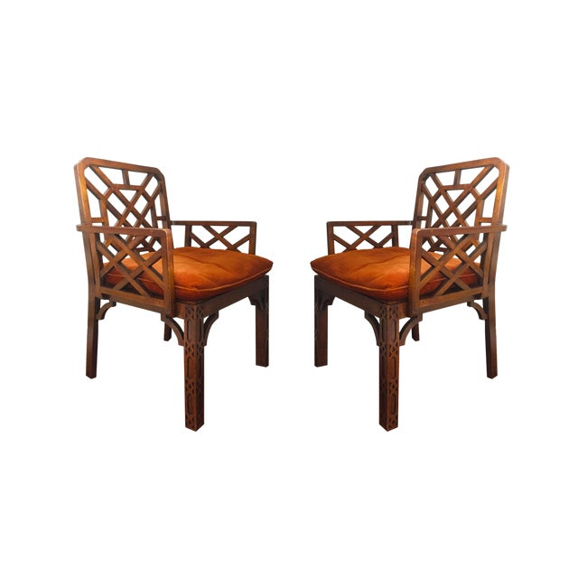 Mid-Century Chinese Chippendale Armchairs - A Pair - Image 1 of 5