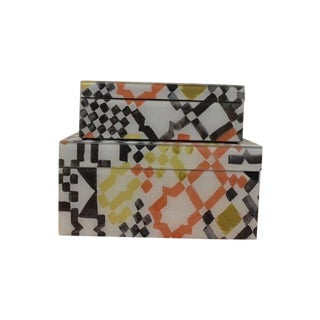 Modern Mosaic Jewelry Boxes - A Pair