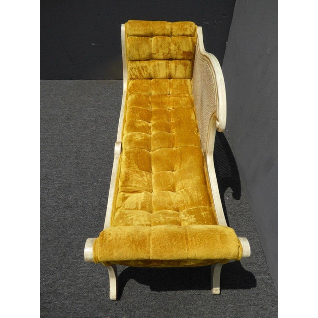 French Provincial White Cane & Gold Velvet Bench Settee - Image 6 of 11