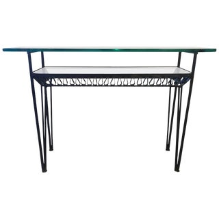 Iron Base Glass Top Shelved Console Table