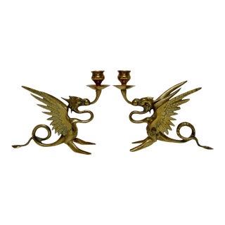 Brass Griffin Candlesticks - a Pair