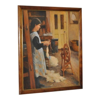 Spinning Wool Original Oil Painting