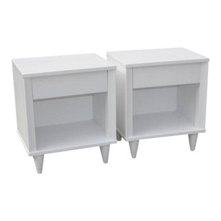French Mid-Century White Lacquered Nightstands - A Pair