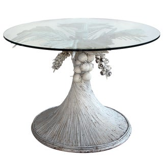 Playful American White Painted Rattan and Wood Palm Frond Table