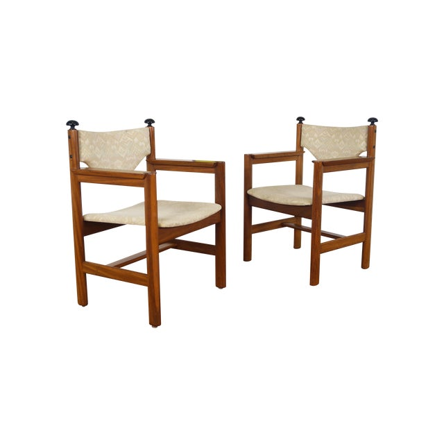 Vintage Walnut Armchairs - A Pair - Image 1 of 8