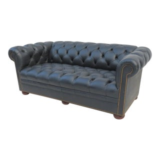 Navy Blue Chesterfield Leather Sofa