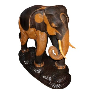 Hand-Carved & Painted Mahogany Wooden Elephant