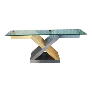 Vintage Glass X Console Table