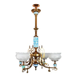 Longwy Aesthetic Movement Gas Chandelier (4-Light)