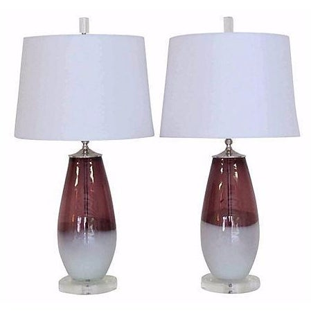 Amethyst & White Italian Lamps - A Pair - Image 1 of 4