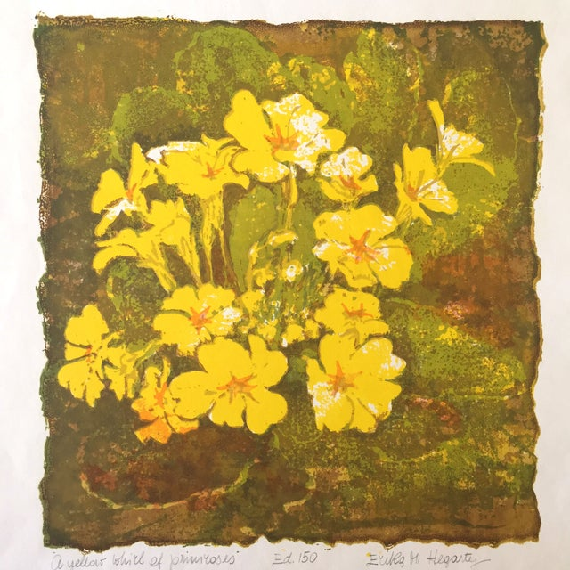 """""""A Yellow Whirl of Primrose"""" Woodblock - Image 1 of 4"""