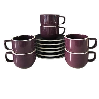 Sasaki Colorstone Coffee/Tea Cups & Saucers - Set of 6