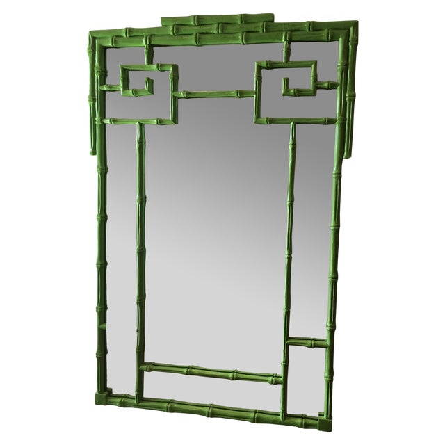 Green Faux Bamboo Mirror - Image 1 of 5