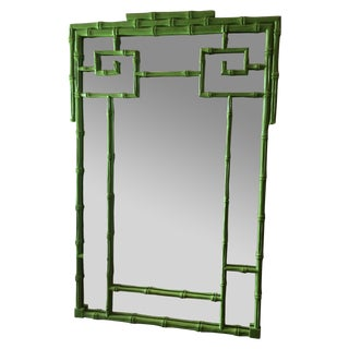 Green Faux Bamboo Mirror