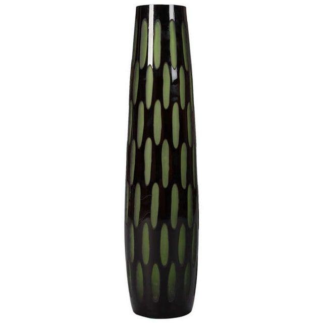 Mid-Century Slender Black & Green Case Glass Vase - Image 1 of 5