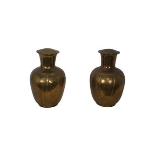 Vintage Asian Brass Covered Vases - Pair