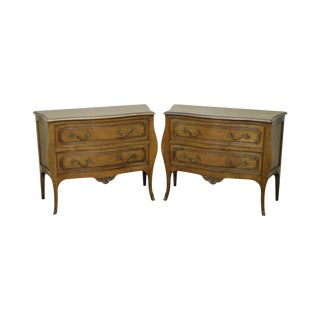 Bodart French Louis XV Style Pair of Walnut Commodes Chests