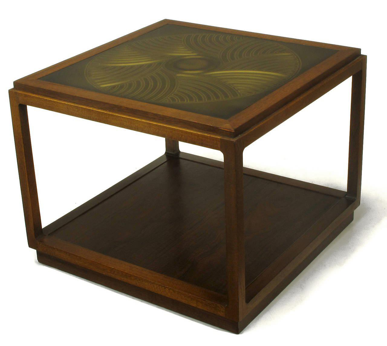 Bert England East Indian Laurel Side Table With Etched Brass Top For Baker    Image 5