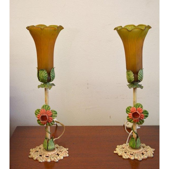 Image of Mid Century Italian Made Tole Lamps - Pair
