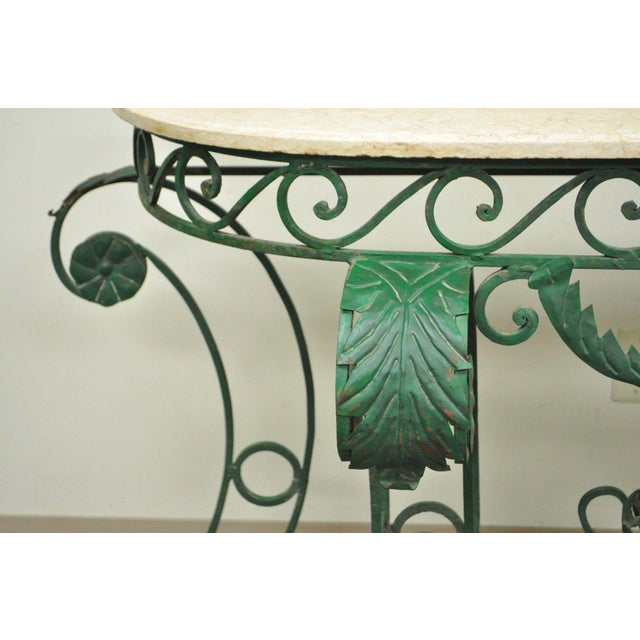 Italian Regency Style Green Wrought Iron Marble Top Console Table - Image 10 of 11