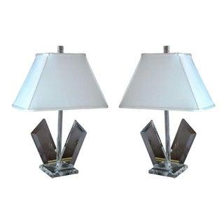 Van Teal Sculptural Lucite Lamps - A Pair