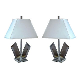 Van Teal Sculptural Lucite Lamps - A Pair