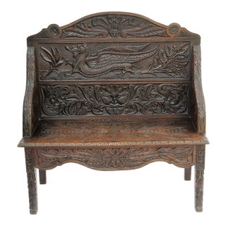 Antique English Carved Oak Settee
