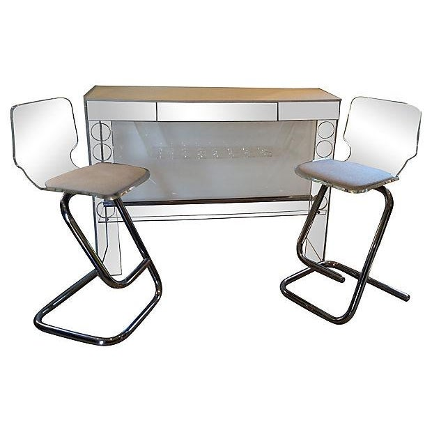 Mid century modern lucite bar table chairish for Mid century bistro table