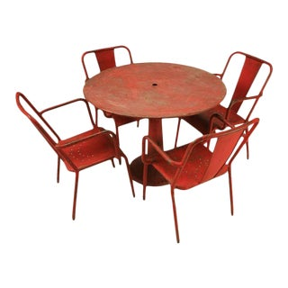 Mid-Century Industrial Steel Dining Set