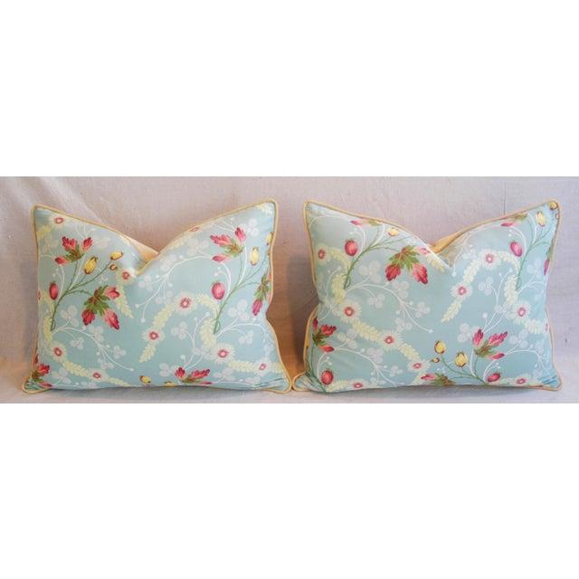 Image of Powder Blue Scalamandré Floral Brocade Pillows - A Pair