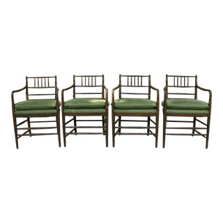 Set of 4 Faux Bamboo Chinoiserie Style Dining Chairs