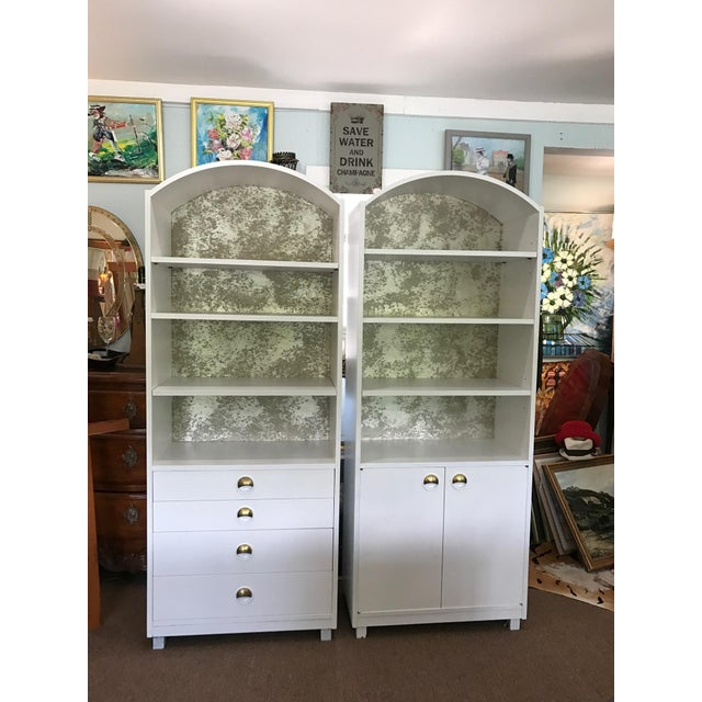 Mid-Century Modern Satin White and Zinc Cabinets - A Pair - Image 2 of 9