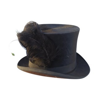 Victorian Beaver Top Hat With Feather