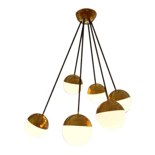 A Six Light Ceiling Mounted Mid Century Chandelier by Stilnovo