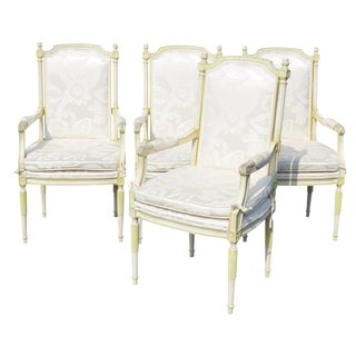 Louis XVI Style Distressed Cream Painted Armchairs - Set of 4