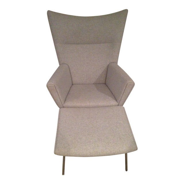 Image of Design Within Reach Gray Wing Chair & Ottoman