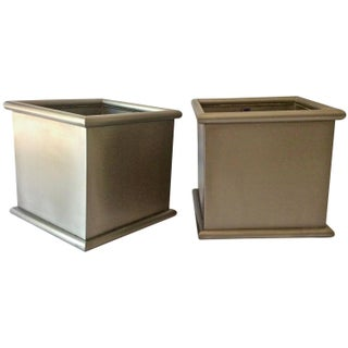 Square Stainless Steel Planters - A Pair