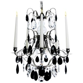 Baroque 5 Arm Nickel & Black Crystals Chandelier