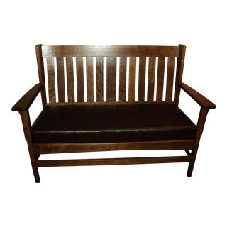 Antique Oak Mission Settee