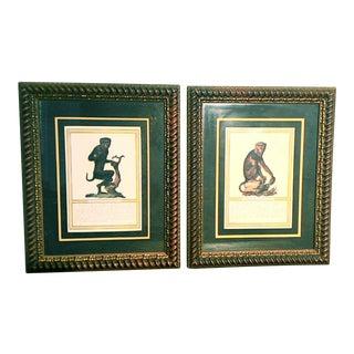 """Monkey Art Work, Framed, Nice Matting - A Pair - 17.5"""" x 21"""""""
